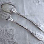 Soldデザートスプーンフォーク french silver Henin & Cie