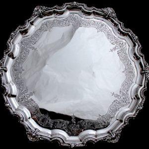 ミラー仕上げの純銀サルバ,Mappin & Webb 直径33cm