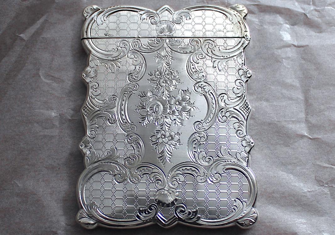 Sold シルバーカードケース03 可愛い花柄