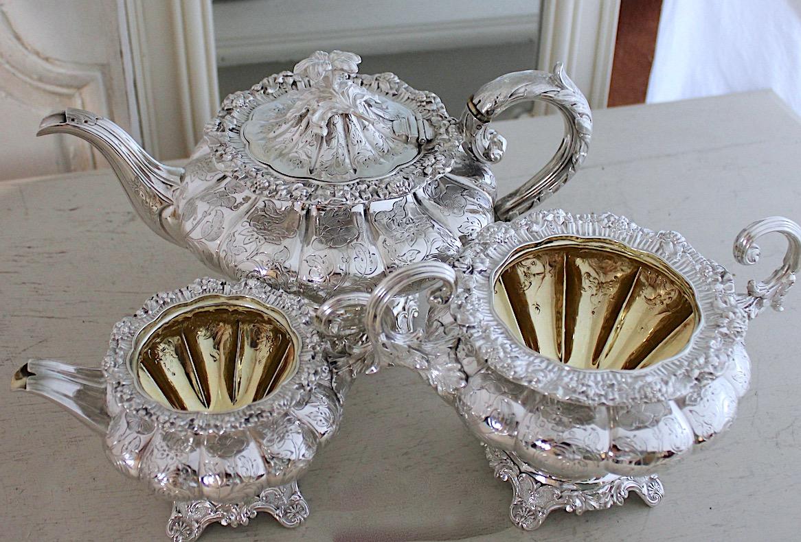 純銀3点ティーセット 、大きめ1838年バーミンガム