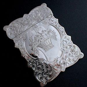 シルバーカードケース 花かご  H&T 1855年